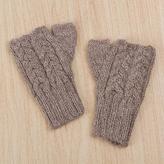 100% Alpaca Crocheted Fingerless Gloves in Tan from Peru, 'Tan Attraction'