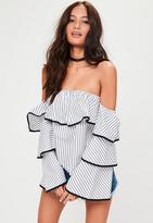 Missguided Tall White Striped Frill Bardot Top, White