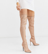 Asos Design DESIGN Luxe Kendra stiletto thigh high boots in rose gold