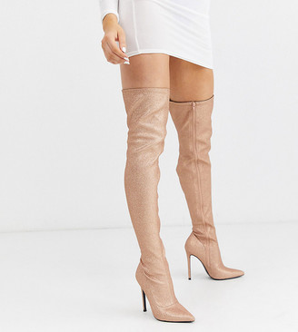 ASOS DESIGN Luxe Kendra stiletto thigh high boots in rose gold