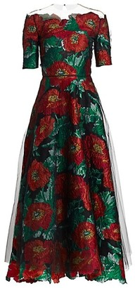 Oscar de la Renta Jacquard Floral Tulle Overlay Gown