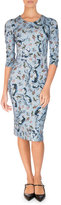 Erdem Allegra Half-Sleeve Sheath Dress, Blue/Pink