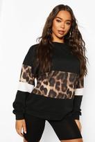 boohoo Leopard Print Sweat Top & Short Co-ord Set