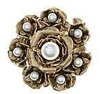 CONTEMPORARY Large Flower Brooch with Pearl