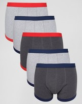 Asos Trunks In Gray With Contrast Binding 5 Pack SAVE