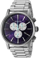 Nixon Men's 'Sentry Chrono, Purple' Quartz Stainless Steel Automatic Watch, Color:Silver-Toned (Model: A386-230-00)