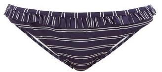 Solid & Striped Millie Striped Ruffled Bikini Briefs - Womens - Navy Stripe