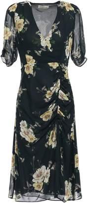 Nicholas Ruched Floral-print Silk-georgette Dress