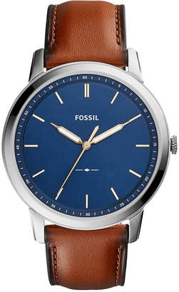 Fossil Men The Minimalist Brown Leather Strap Watch 44mm