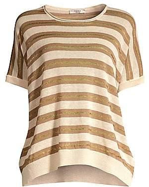 Peserico Women's Striped Knit Linen-Blend Sweater
