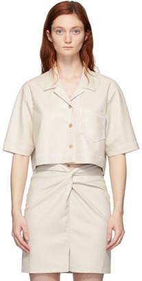 Nanushka Off-White Vegan Leather Cropped Rhett Shirt