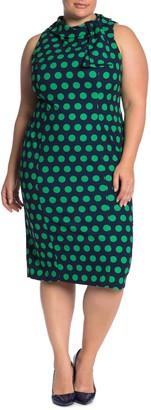 London Times Polka Dot Sheath Midi Dress (Plus Size)