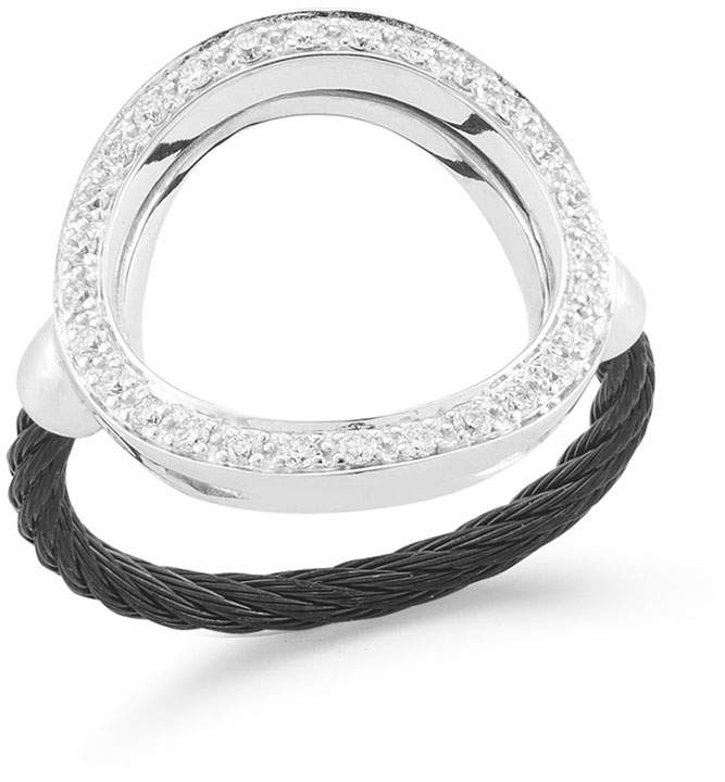 Alor Open Diamond Pave Circle Ring, Black, Size 6.5
