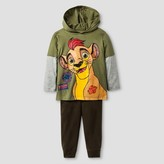 The Lion Guard Toddler Boy's The Lion Guard Kion Hooded T-Shirt with Fleece Pant - Olive Green