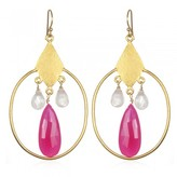 Wendy Mink Rose & Pink Quartz Circle Earrings