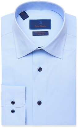 David Donahue Trim Fit Peformance Stretch Solid Dress Shirt