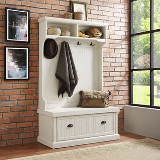 Beachcrest HomeTM Halstead Hall Tree with Bench and Shoe Storage Beachcrest Home Color: Distressed White