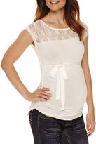 Asstd National Brand Planet Motherhood Maternity Sleeveless Lace-Yoke Tee