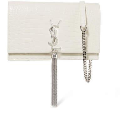 Saint Laurent Kate Small Croc-effect Leather Shoulder Bag - Ivory