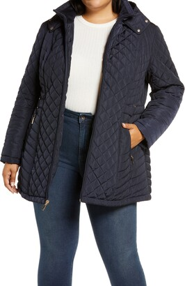Gallery Fleece Lined Diamond Quilted Hooded Jacket