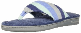 Dearfoams Women's Melanie Colorblocked Microfiber Terry Thong Slipper