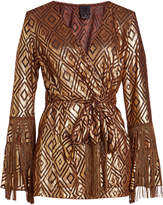 Anna Sui Metallic Blouse with Fringing