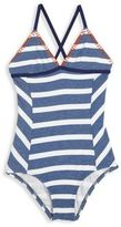 Splendid Girl's Chambray Cottage Striped One-Piece Swimsuit