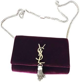 Saint Laurent Kate monogramme Burgundy Velvet Handbags