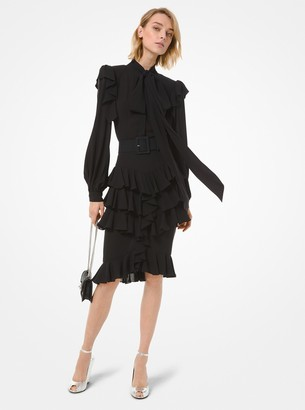 Michael Kors Silk Georgette Ruffle Dress