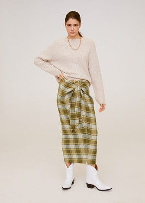 MANGO Checked midi skirt