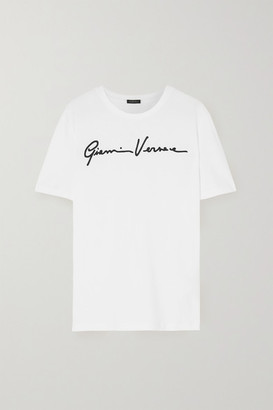 Versace Embroidered Cotton-jersey T-shirt - White