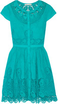 Alice + Olivia Kaley Crochet-trimmed Embroidered Cotton Mini Dress - Turquoise