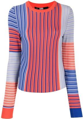 Karl Lagerfeld Paris Striped Fine Knit Jumper