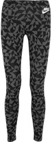 Nike Printed Stretch Cotton-jersey Leggings - Anthracite