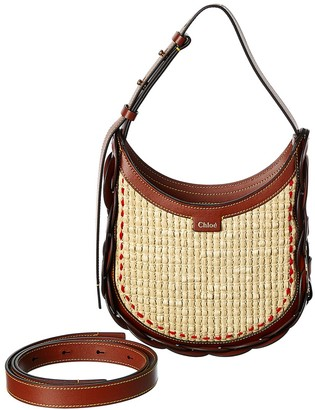 Chloé Darryl Small Raffia & Leather Hobo Bag