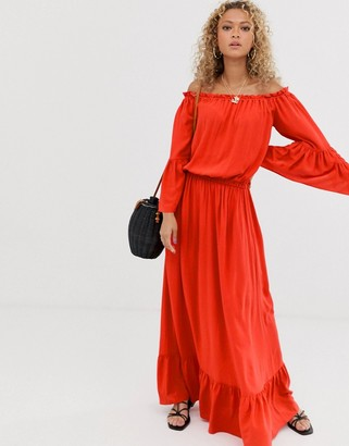 Asos Design DESIGN off shoulder maxi dress in crinkle-Red