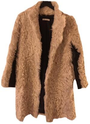 Sandro Beige Mongolian Lamb Coat for Women