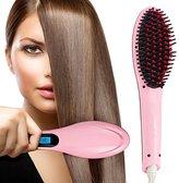 Angel Kiss LCD Display Brush Hair Straightener, Instant Magic Silky Straight Hair Styling, Anion Hair Care, Massage Straightening Irons, Electric Heating Straightening (US Plug+Pink)