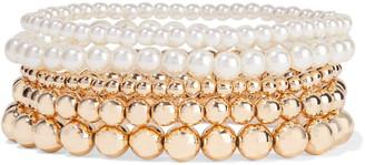Shashi Empress Set Of Five 18-karat Gold-plated Faux Pearl Bracelets