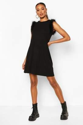 boohoo Feather Trim Sleeveless Shift Dress