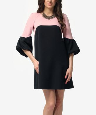 LADA LUCCI Women's Casual Dresses Black - Black & Light Pink Color Block Ruffle-Sleeve Shift Dress - Women & Plus