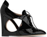 Valentino Velvet-paneled patent-leather wedge pumps