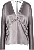 Elizabeth and James Ophelie Stretch-silk Satin Blouse - Gunmetal