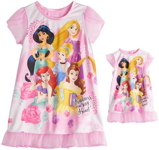 Licensed Character Disney Princess Toddler Girl Night Gown & Matching Doll Night Gown Set