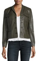 Zadig & Voltaire Liam Patina Button-Front Lamb Leather Jacket