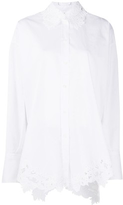 Ermanno Scervino Lace-Intarsia Long Sleeve Shirt