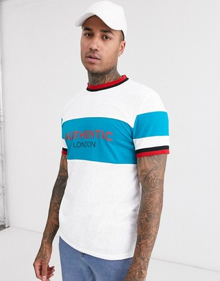 Asos DESIGN organic cotton t-shirt with color block and authentic print
