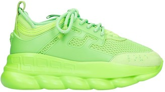 Versace Chain Reaction Sneakers In Green Synthetic Fibers