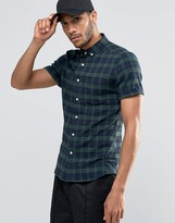 Asos Skinny Check Shirt In Khaki Flannel With Short Sleeves