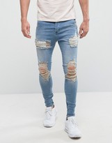 SikSilk Super Skinny Low Rise Jeans In Light Wash With Distressing
